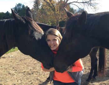 Catherine_Chouinard with her two Standardbred horses:  Crusader Dream and Ain't no Hearsay