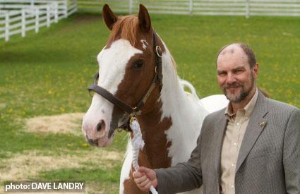 Dr. Jeff Thomason holding a horse