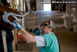 equine dentist using speculum