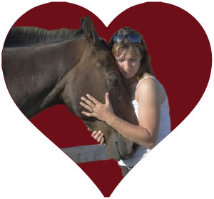 Horse and owner inside of a heart
