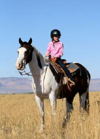 western rider wearing a helmet