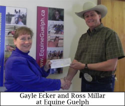 Ross Millar president of Can-Am presenting cheque to Gayle Ecker of Equine Guelph